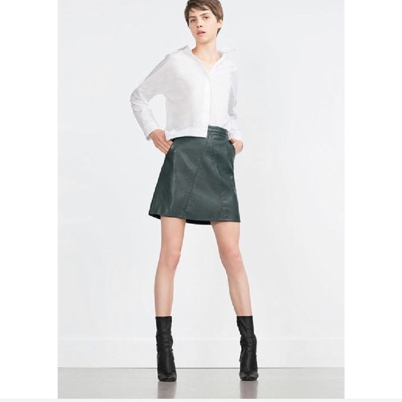 e61755b2f0b3 Zara Skirts | A Line Faux Leather Skirt Hunter Green | Poshmark